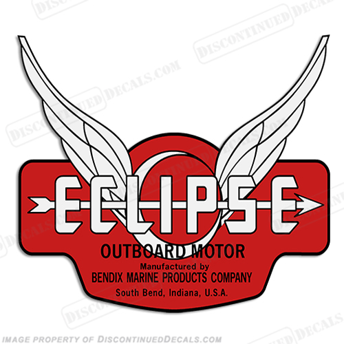 Bendix Marine Eclipse Outboard Decal - 1937-1940 (White)