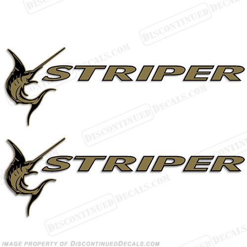 Seaswirl Striper Boat Logo Decals - Gold (Set of 2)