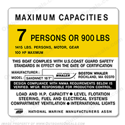 Boston Whaler Sakonnet Capacity Plate Decal - 7 Person