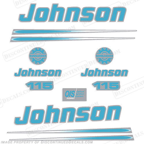 Johnson 115hp 2004 Decals - Blue/Silver