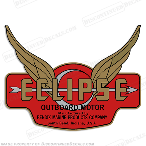 Bendix Marine Eclipse Outboard Decal - 1937-1940 (Gold/Silver)