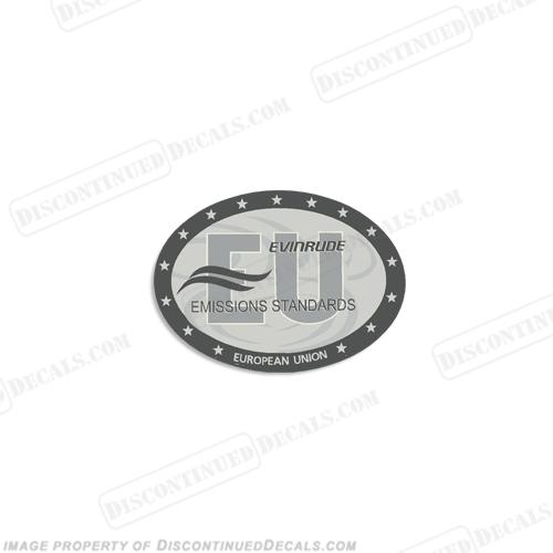 "Evinrude Single Emissions Standard European Union"" Decal 2004 - 2009"