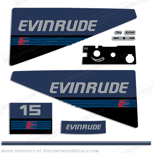 Evinrude 1987-1988 15hp Decal Kit