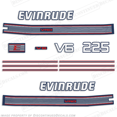 Evinrude 1991 225hp V6 Decal Kit