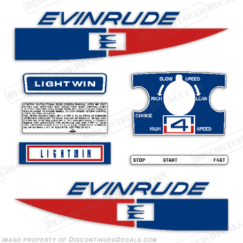 Evinrude 1971 4hp Decal Kit