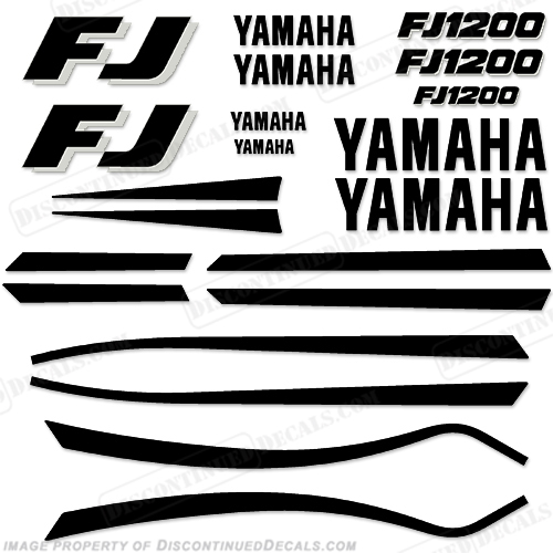 1989-1990 Yamaha FJ1200 Motorcycle Decals (Black/White)